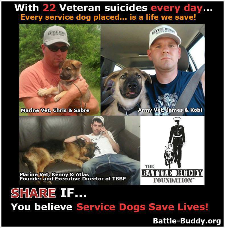 With 22 veteran suicides everyday..Every service dog placed is a life we save