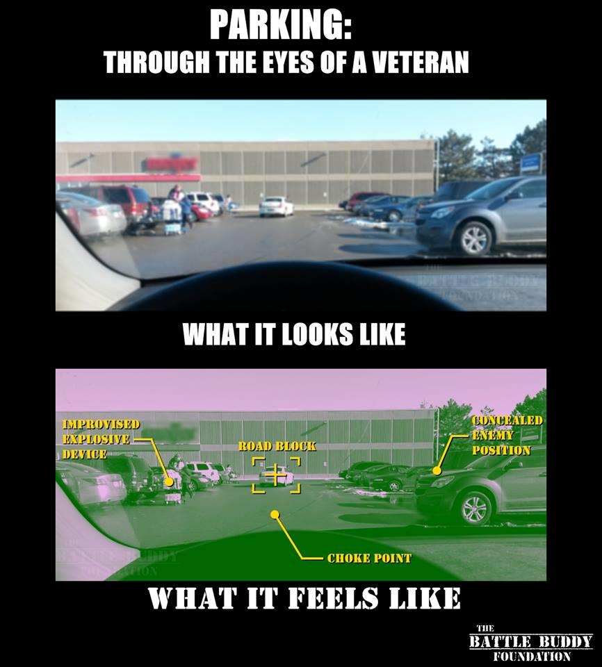 parking a car through the eyes of a veteran is seen as a war field