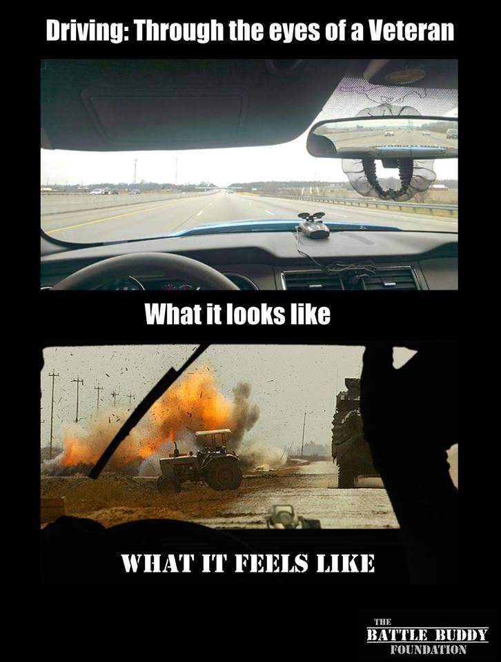 driving a car through the eyes of a veteran is seen as a war field
